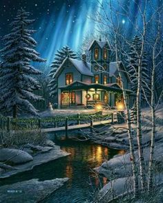 Thomas Kinkade holy cow that is so stunning! Thomas Kinkade Art, Thomas Kinkade Christmas, Winter Pictures, Christmas Pictures, Christmas Scenes, Christmas Art, Kinkade Paintings, Thomas Kincaid, Art Thomas