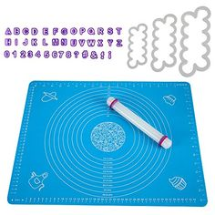 From 14.99:Thsinde Silicone Baking Mat Sugarcraft Fondant Rolling Pin Fondant Alphabet Cutters Sugarcraft Cutters
