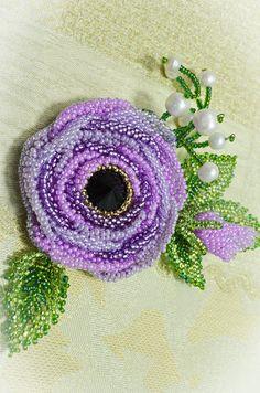 Purple Jewelry Statement Beaded Flower Rose Brooch Handmade