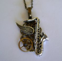 Steampunk jewelry saxophone necklace pendant. by slotzkin on Etsy, $32.00 It's a tenor!!! =D