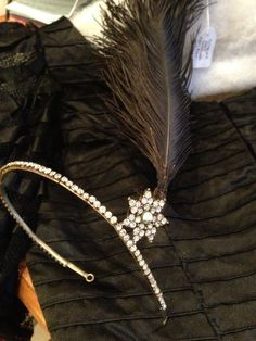 1920 S Diamante Feather Headdress.. Genuine Vintage