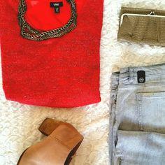 Mossimo Hi Lo Scoop Neck Sweater Red-orange variegated loose knit sweater. Hi Lo hemline. Scoop neck. 3/4 sleeve. Chiffon yoke in back. Very flattering. Mossimo Supply Co Sweaters Crew & Scoop Necks