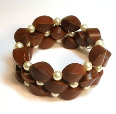 Wood and Glass Pearl Memory Wire Bracelet
