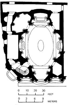 PLAN of Borromini's San Carlo alle Quattro Fontane, Rome. 1638.