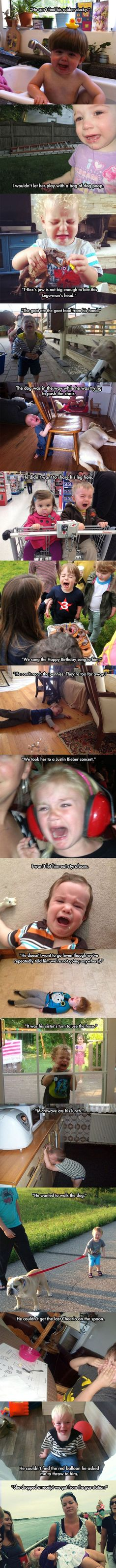 Reasons why kids cry. Oh my gosh the last one!