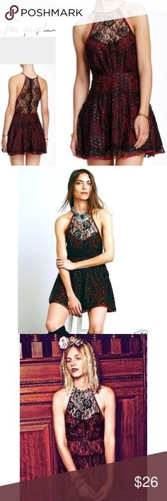 FREE PEOPLE 12 burgundy halter dress lace FREE PEOPLE! Women's size 12. Burgundy with black lace. Sleeveless halter neck dress. Gold dot details. Never worn. Free People Dresses Mini
