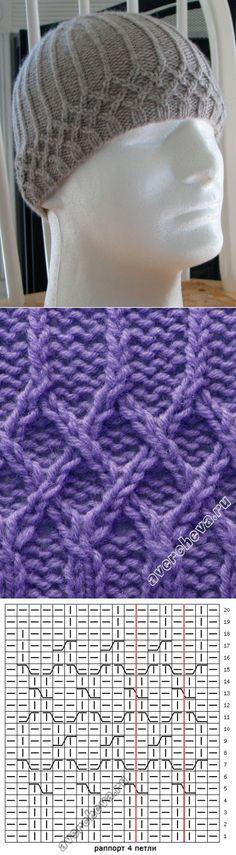 узор 475 плетенка для шапочки | каталог вязаных спицами узоров
