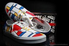 Scarpe dipinte a mano-Vans Mondrian