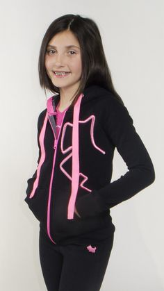 Girls, Tweens, Zip up Hoodie, Fleece - Black, neon pink print, Joshua Perets
