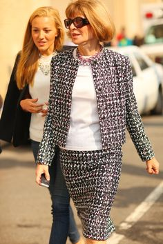 We spied Anna Wintour in her go-to polished suiting. (Again, Ms. Wintour as a perfect version of Classic - hair, glasses, suiting...the whole deal.)