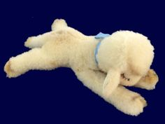 Charming vintage #Steiff 1950s Floppy Lamb Lying #Lamby Plush 7517 Tag. Made in Germany, has original blue ribbon to welcome home a new baby boy! Excellent as-new condition.