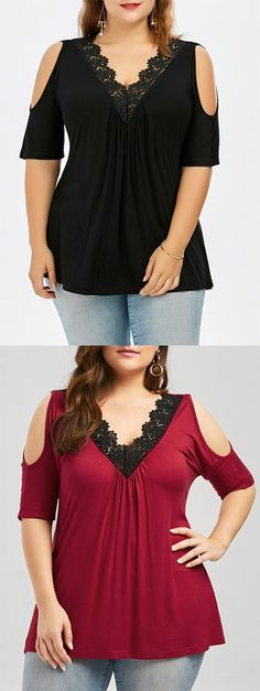 Plus Size Lace Trim V Neck Cold Shoulder Flowy Top