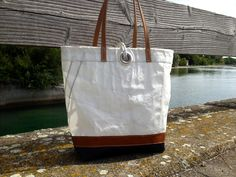 sail bag made of recycled sailcloth with leather stripe www.etsy.com