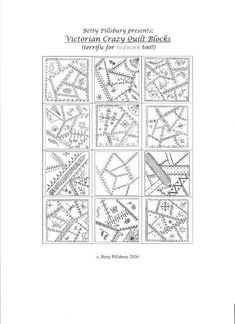Crazy quilting embroidery free printable 50 ideas for 2019 Crazy Quilting, Crazy Quilt Stitches, Crazy Quilt Blocks, Quilting Tips, Hand Quilting, Block Quilt, Quilting Templates, Quilt Block Patterns, Pattern Blocks