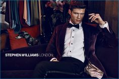 Robert Reider dons a purple velvet jacket for Stephen Williams London's fall-winter 2016 campaign.
