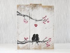 Rustic Engagement Gift Wood Signs Reclaimed Wood Art Love Bird Art Farmhouse Wedding Gift for Couple 5th Anniversary Gift Wood Wall Art Love