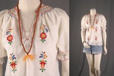 Vintage Peasant blouse white top Bohemian Gypsy by sparrowlyn, $41.00
