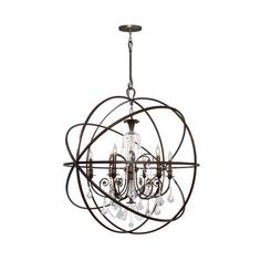 "Crystorama Lighting Group 9219-CL-MWP Solaris 6 Light 40"" Wide Wrought (3 080 AUD) ❤ liked on Polyvore featuring home, lighting, ceiling lights, chandeliers, english bronze, indoor lighting, chain light, incandescent lamp, orb chandelier lighting and crystorama chandelier"
