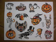 Halloween: Traditional Tattoo Flash Sheet. $10.00, via Etsy.