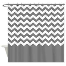chevron pattern gray Shower Curtain for