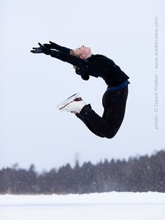 Professional figure skater Erika Pugsley jumping for a portrait, photograph by David Walker from David Walker Photography