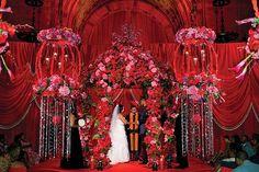 red wedding decor, red mandap, red floral mandap, #shaadibazaar