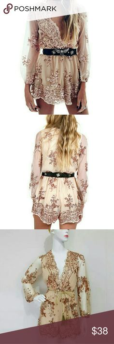 HOST PICK 🎷🎷🎈🎉JUMPSUIT 🎊 Sexy rose gold sequenced  romper great for parties and special events, it's run small so take bigger then your normal size so if you normal size small take Medium if medium take large if large take XL  (we will ship it in same day and you will receive it in 2 to 3 days) Pants Jumpsuits & Rompers