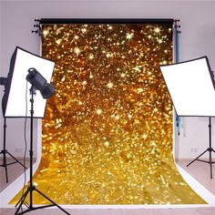SUSU Wrinkles Free Gold Photography Backdrops Golden Ribbon Glitter Background for Wedding Backdrop Shoot Birthday Backdrop, Birthday Background, Wedding Background, Glitter Backdrop, Glitter Background, Thing 1, Home Studio, Photography Backdrops, Wedding Shoot