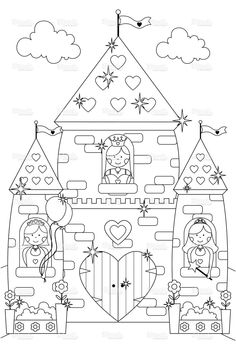 Fairytale Sparkly Castle and Princess Characters to Color In. stock vector art 10060642 - iStock
