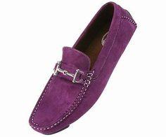 Amali Men's Purple Driving Loafer Shoes w/ Silver Ornament: Style Norwalk-049