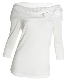 AGB Off Shoulder Sweater Small Bow Rhinestone Collar 3/4 Sleeve Ivory Top NEW #AGB #OffShoulder