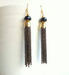 Black Tassel Earrings Drop earrings Gold Chain by CreationsByAlina