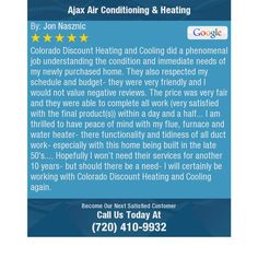 Colorado Discount Heating and Cooling did a phenomenal job understanding the condition and...