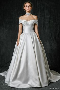 sareh nouri fall 2017 bridal off the shoulder straight across neckline clean simple classic ball gown a  line wedding dress chapel train (maddison) mv