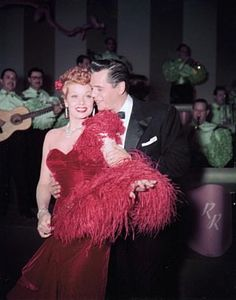 Lucy & Desi on the set of 'I Love Lucy'  Smiling Faces? Posed? Who knows? That was Hollywood in the 40s and 50s...