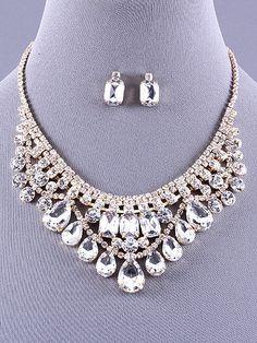 Crystal Clear Bib Necklace Set Earring Bridal Formal Gold Tone Fashion Jewelry #DazzledByJewels #Chain
