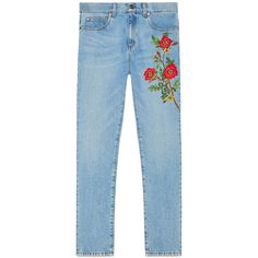 Gucci Embroidered Denim Pant (47,140 PHP) ❤ liked on Polyvore featuring jeans, denim, ready to wear, women, gucci, embroidery jeans, gucci jeans, embroidered jeans and blue denim jeans