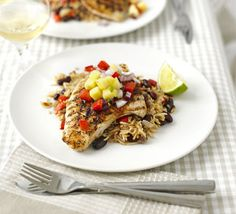 Low FODMAP Recipes - Cajun turkey steaks with pineapple salsa Healthy Dinner Recipes For Weight Loss, Bbc Good Food Recipes, Healthy Foods To Eat, Easy Dinner Recipes, Healthy Snacks, Healthy Recipes, Dinner Ideas, Protein Recipes, Healthy Dishes
