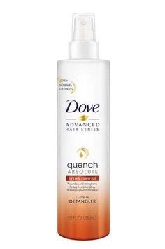 """Dove has been promoting a """"love your curly hair"""" campaign for some time now. This year, the brand is adding to the hauls of natural haired girls everywhere with its new leave-in detangler. The lightweight formula nourishes, conditions, and helps to prevent breakage. It'll go kinda perfectly with your new curly-hair emojis. Dove Quench Absolute Leave-In Detangler, $5.99, Target.  - Provided by Refinery29"""