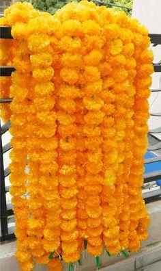 Indian Decorative Mango Color Marigold Garland String, Wedding Decor Boho Flower, Diwali & Mandap Decor Real Look Artificial Flower String