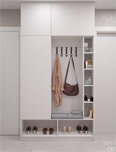Wardrobe in the hallway, white wardrobe - Mudroom Home Interior Design, Romantic Home Decor, House Interior, Diy Home Decor, Home, Home Diy, Home Entrance Decor, Hallway Furniture, Mudroom Design