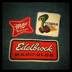 3 Vintage patches 3 iron on vintage patches. Great for jean jackets or worker coats. Can be used on pretty much anything. Never used, great condition. Miller High Life. Cobra. Edelbrock Other