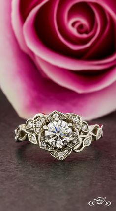 Diamond Pavé Rose Engagement Ring with Twisting Diamond Vine Shoulders. Green Lake Jewelry 118999