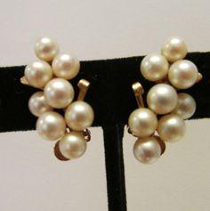 Vintage Estate Ming's of Honolulu 14K 16 High Luster Pearl Earrings by Alohamemorabilia