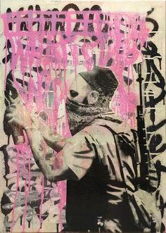 INDO Street Artist  Blacklist #2  Original Mixed Media on Canvas 70cm x 50cm