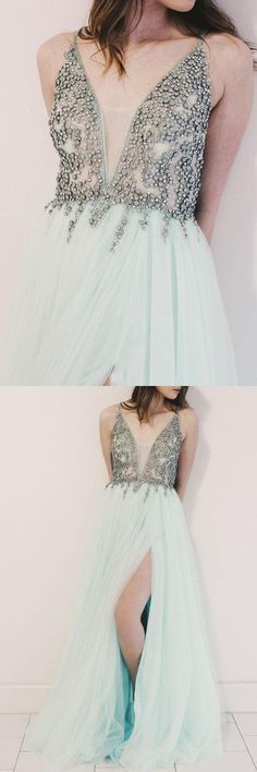 d933496ad50f Charming A-Line Deep V-Neck Sleeveless Split Front Long Prom Dress With  Beading