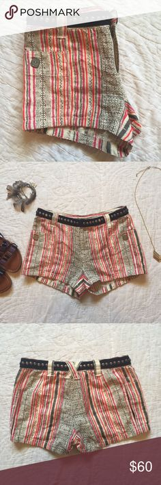 """Never Worn Free People Shorts • Never worn free people shorts with studded """"belt"""" around waist. Such adorable shorts... bought without trying on & they do not fit                                                                        • Fits a size 0. Free People Shorts"""