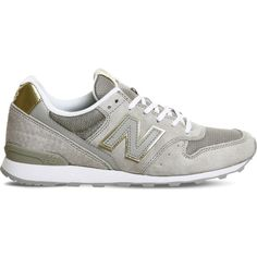 NEW BALANCE 996 suede and mesh trainers ($100) ❤ liked on Polyvore featuring shoes, sneakers, grey gold athleisure, gray sneakers, rubber sole shoes, grey suede shoes, mesh shoes and suede lace up shoes