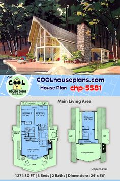 Rustic 3 bedroom vacation home plan in the A-frame style of house design. Classic steep roof pitch e&; Rustic 3 bedroom vacation home plan in the A-frame style of house design. Classic steep roof pitch e&; A Frame House Plans, Best House Plans, Country House Plans, Small House Plans, House Floor Plans, Small Modern House Plans, Door Decks, Earth Bag Homes, Tiny House Village