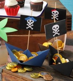 Create a fun pirate ship out of some letter sized cardstock and some glue dots. You can find complete instructions here.